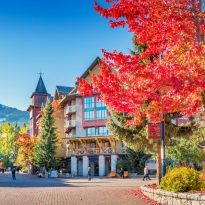 Stock photograph of downtown Whistler British Columbia Canada on a sunny autumn day.
