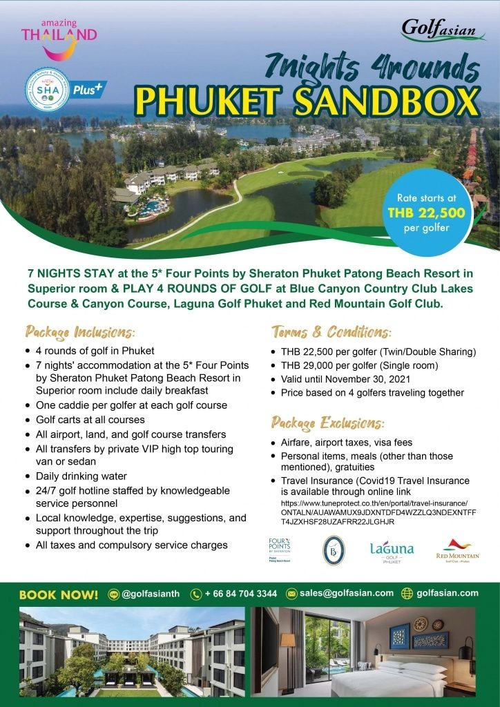 Phuket Sandbox 7 Nights 4 Rounds Package - For Golfers from India